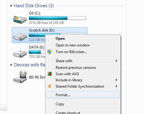 Format computer hard drive with windows.