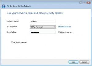 Шаг 6 для создания Ad-Hoc сети