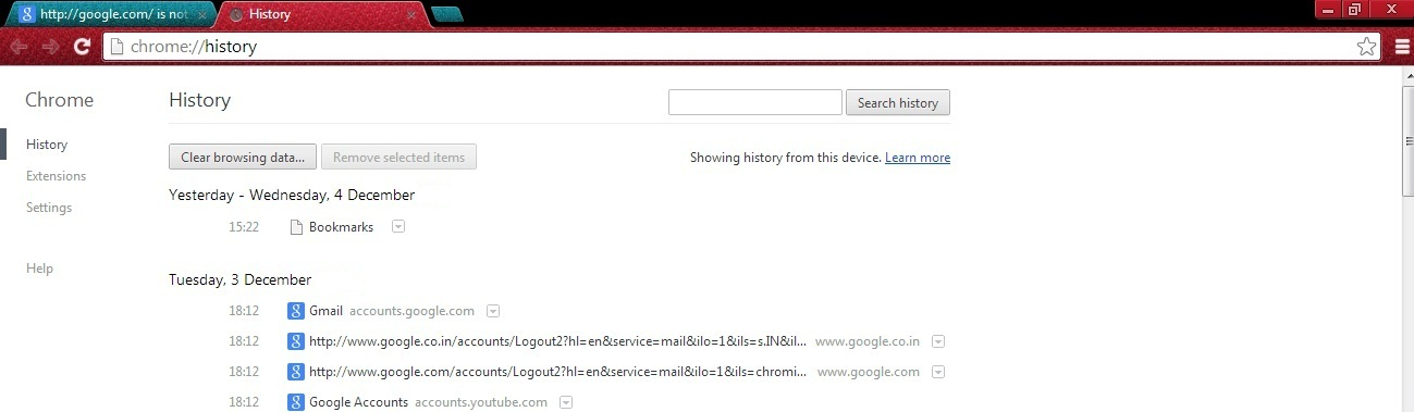 how to get rid of google search history