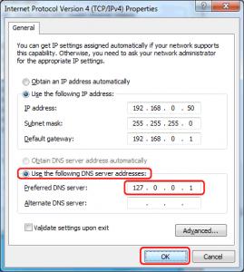 Пятый шаг для настройки Windows DNS