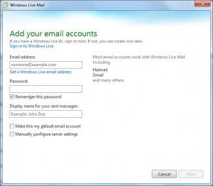 Электронная почта-Аккаунт - Форма