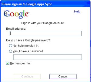 Google Apps Sync Войти