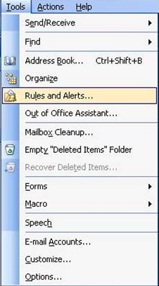 how to set rules in outlook 2013