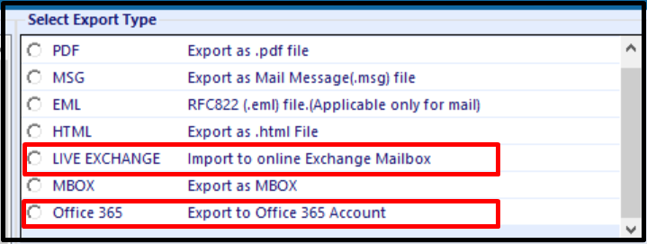 export mailbox to exchange server & O365