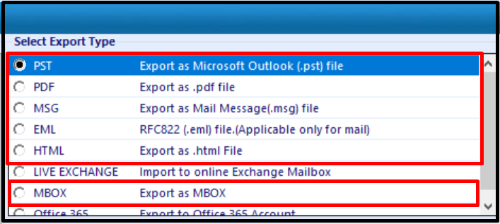 exchange export