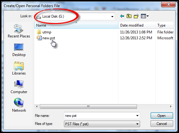 how to change pst file location in outlook 2013
