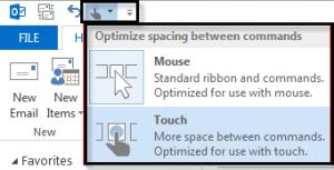 сенсорное меню режима мыши