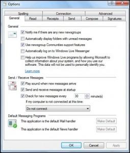 OPtions - Windows Live Mail