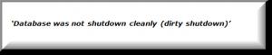dirty shutdown error