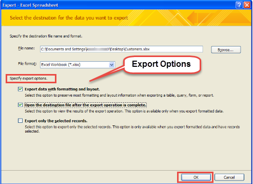 export access form record to pdf