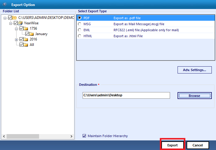 export exchange log file to the diseres export option