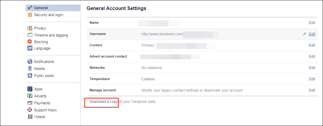 how can i download my facebook data archive