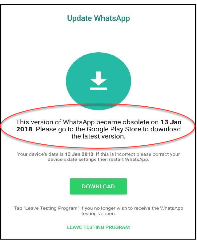 Update whatsapp version