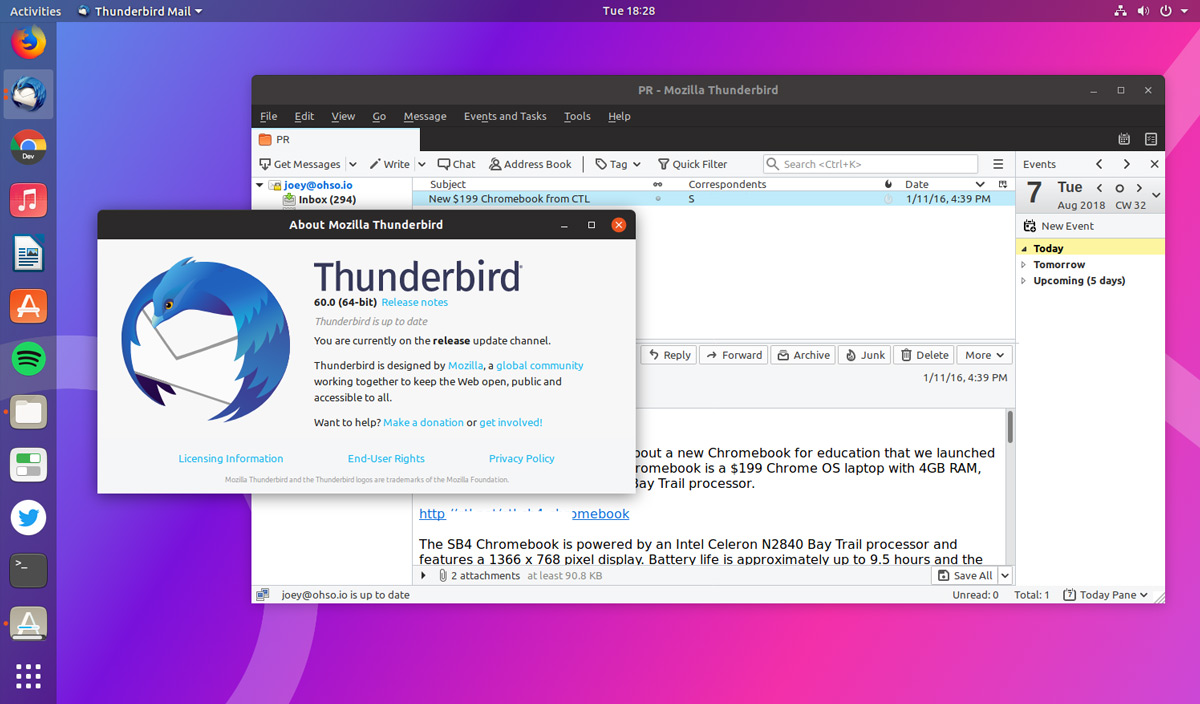 new features in thunderbird 60