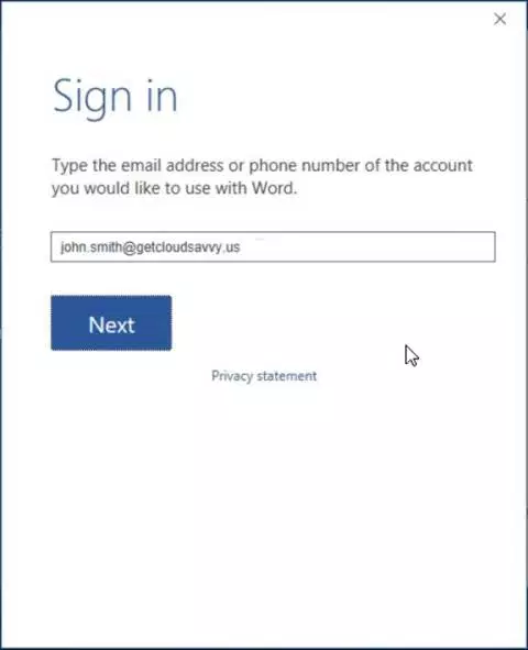 Sign to Office 365