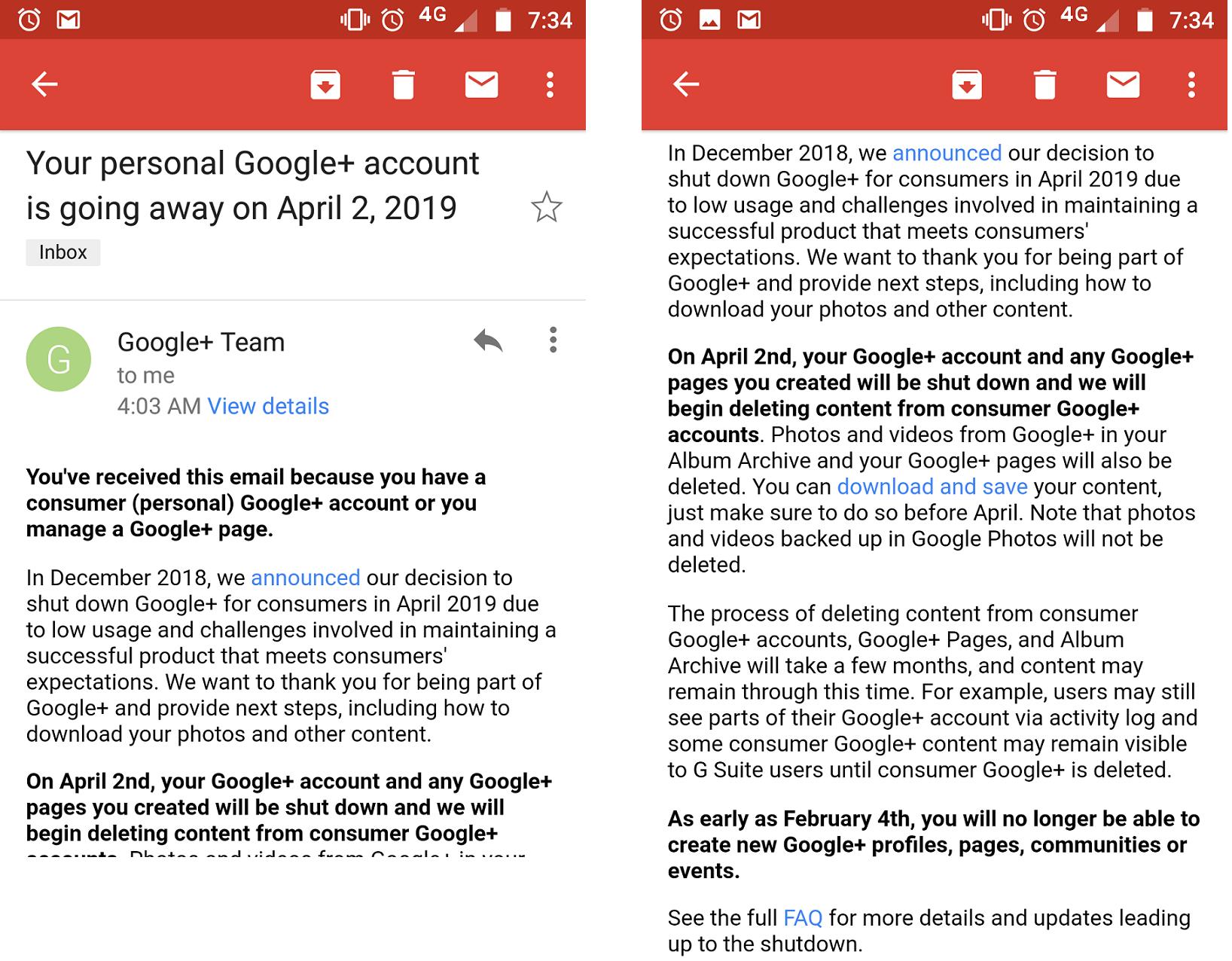 Google+ для потребителей будет закрыт 2 апреля