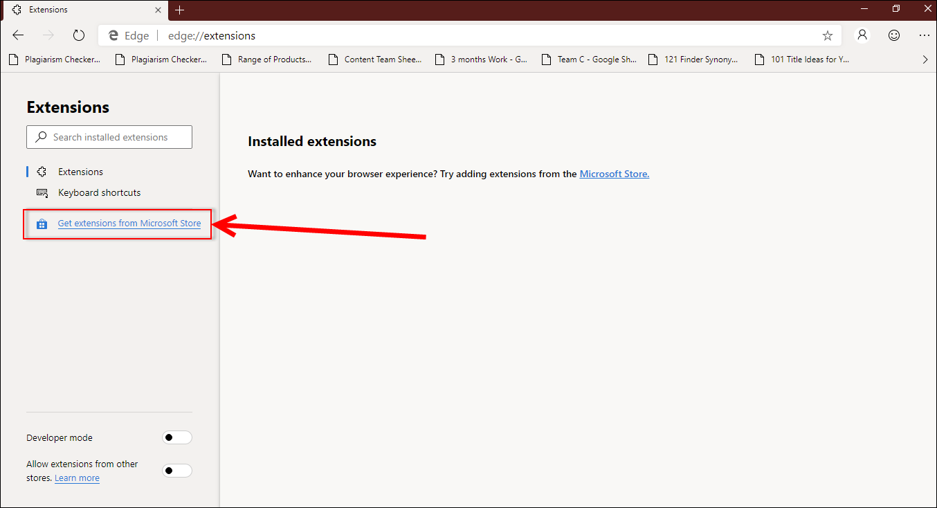 Get extensions from Microsoft Store