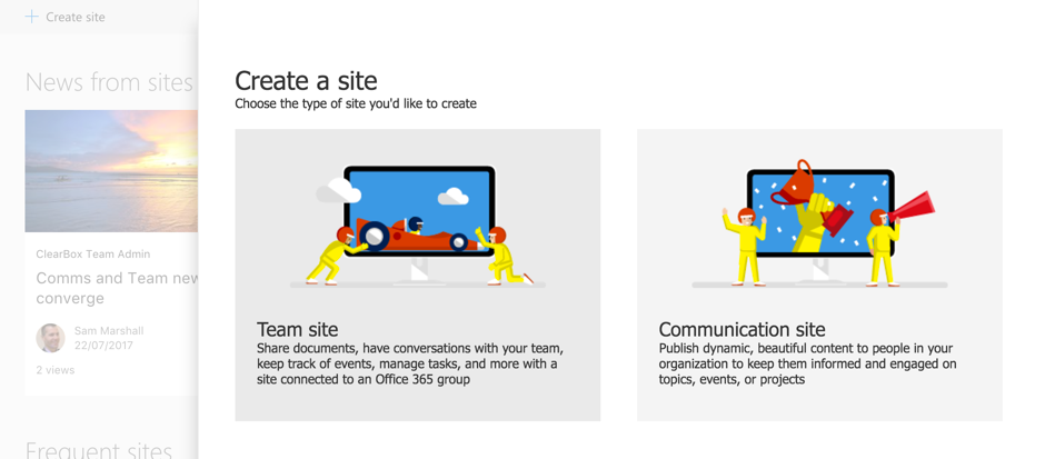 difference between Team Site and Communication Site in Sharepoint