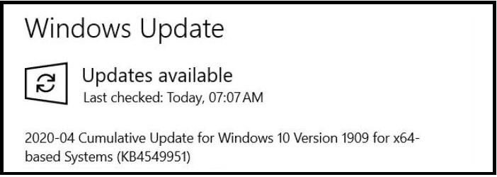 Windows 10 Update KB4549951