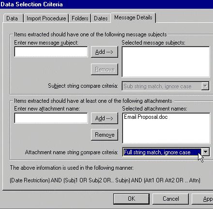 click message details tab
